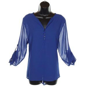 VINTAGE Sheer Blouse with Button up Back Blue